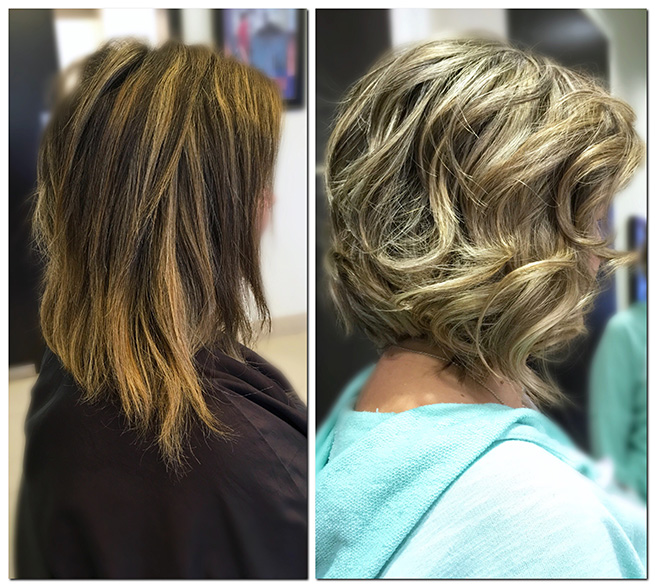 Haircut and Color Before and After MI
